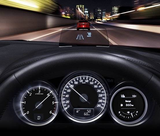 Active Driving Display superimposes key data into your field of vision, improving safety by reducing distraction